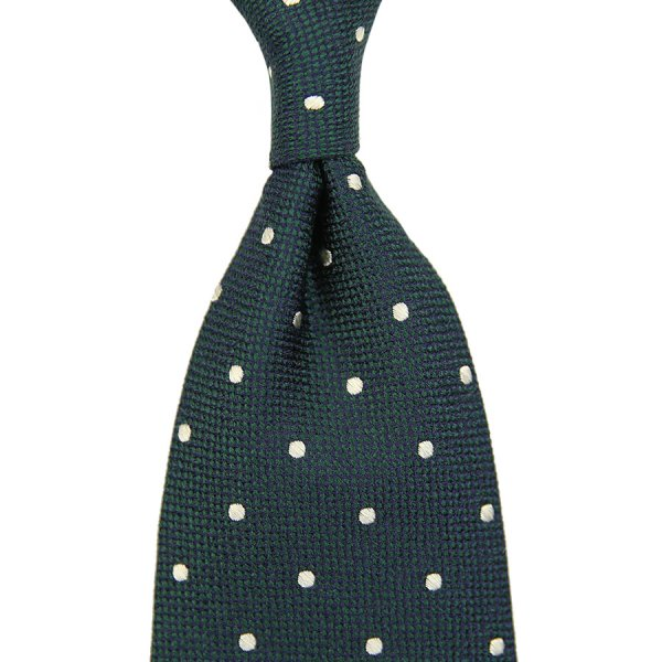 Boucle Silk Tie With Dots - Bottle Green - Handrolled