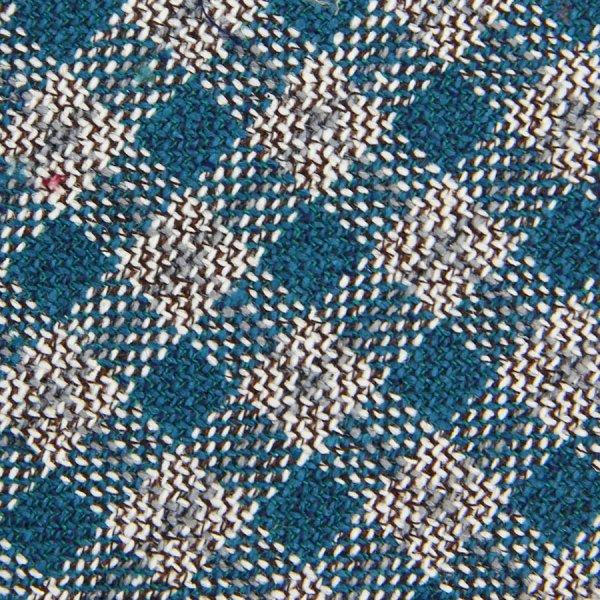 Checked Wool / Silk Bespoke Tie - Cyan / Beige