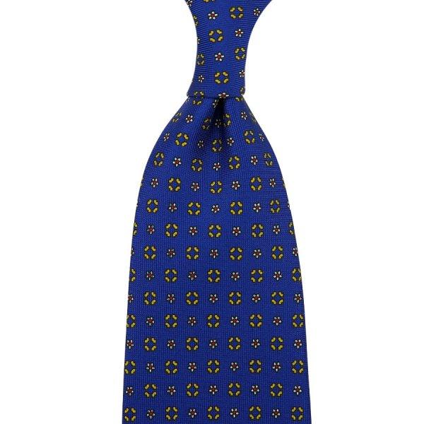Floral Printed Silk Tie - Royal - Self-Tipped