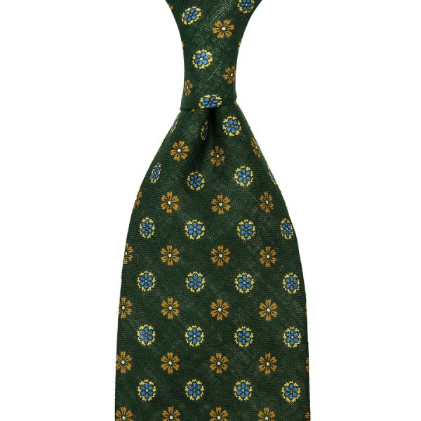 Floral Printed Linen Tie - Forest Green - Hand-Rolled