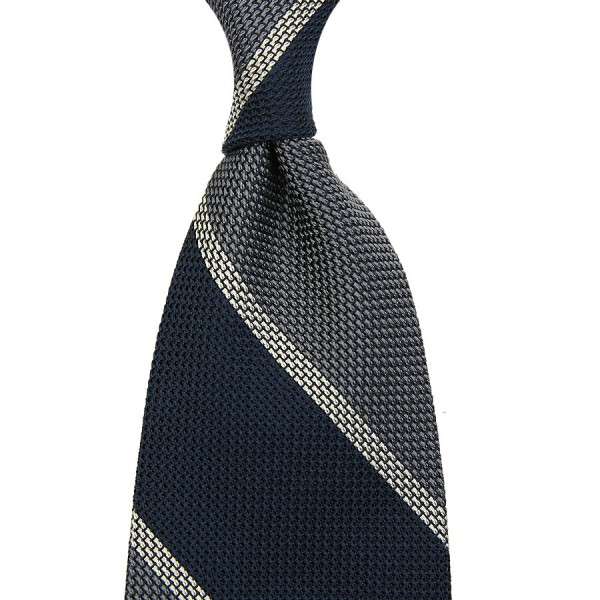 Block Stripe Grenadine / Garza Piccola Silk Tie - Navy / Grey / White