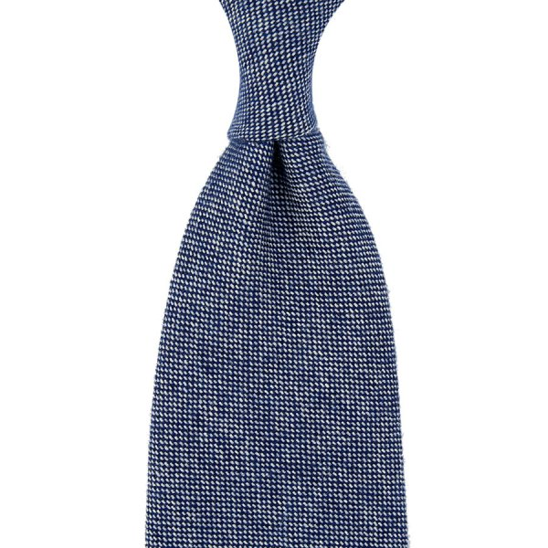 Pure Cashmere Birdseye Tie - Navy - Hand-Rolled