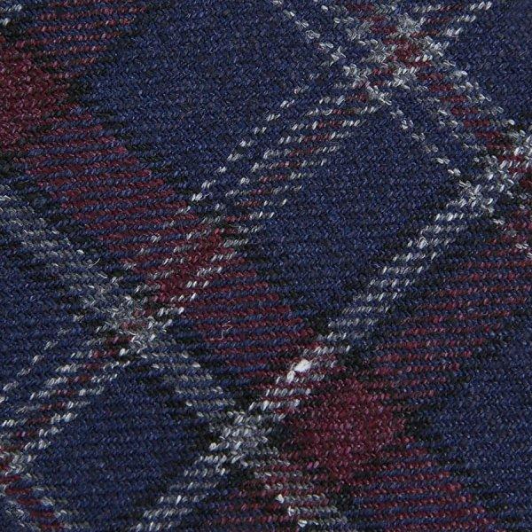 Checked Wool / Silk Bespoke Tie - Navy / Cherry