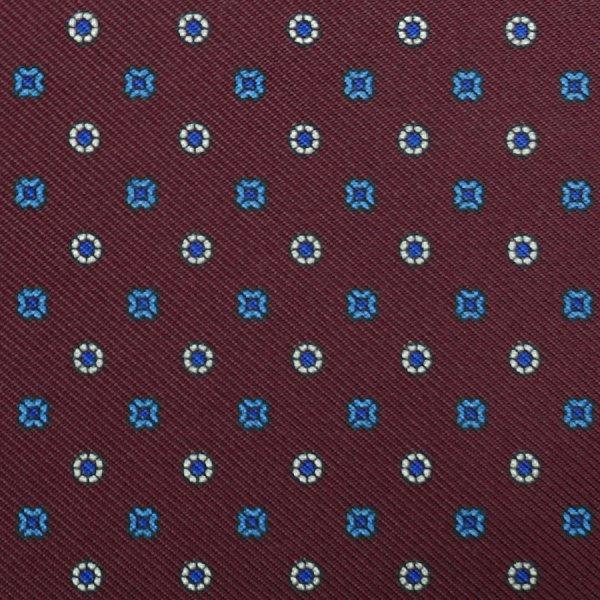 Floral Printed Silk Bespoke Tie - Burgundy