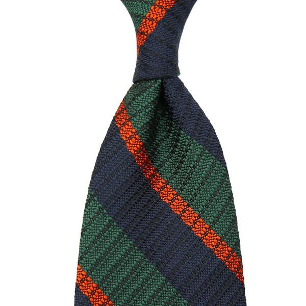 Striped English Grenadine Silk Tie - Navy / Green / Orange - Handrolled