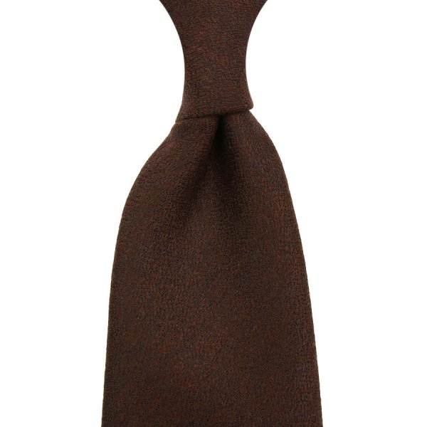 Plain Wool / Silk Boucle Tie - Chocolate - Hand-Rolled