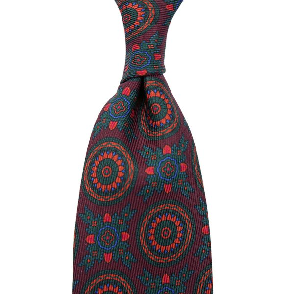 40oz Ancient Madder Silk Tie - Burgundy II - Hand-Rolled