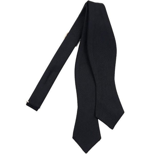 Diamond-Point Barathea Bow Tie - Black - Silk