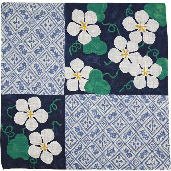 Floral Motif Cotton Handkerchief - Navy