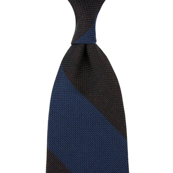 Block Stripe Grenadine / Garza Piccola Silk Tie - Light Navy / Espresso Mottled