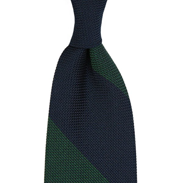 Block Stripe Grenadine / Garza Piccola Silk Tie - Navy / Forest Green