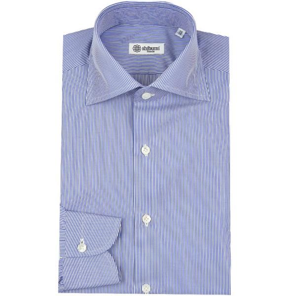 Poplin Semi Spread Shirt - White / Blue - Pencil Stripe - Regular Fit