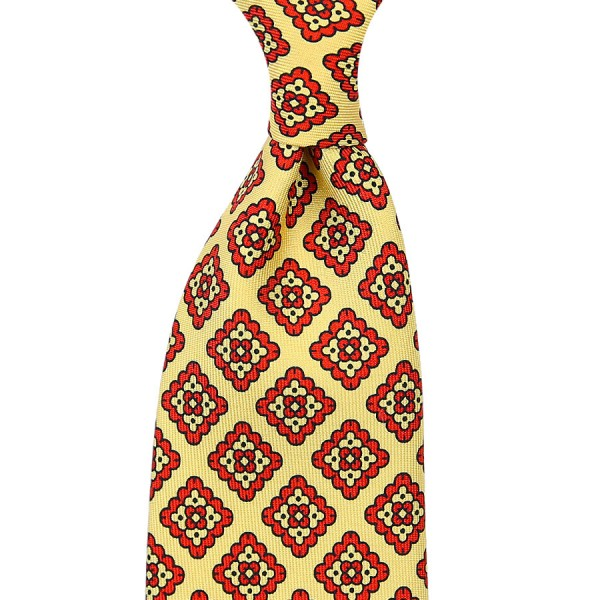 Ancient Madder Silk Tie - Yellow - Handrolled