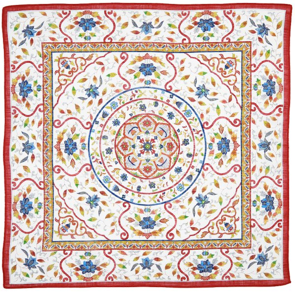 Cotton Handkerchief With Floral Motif - Red