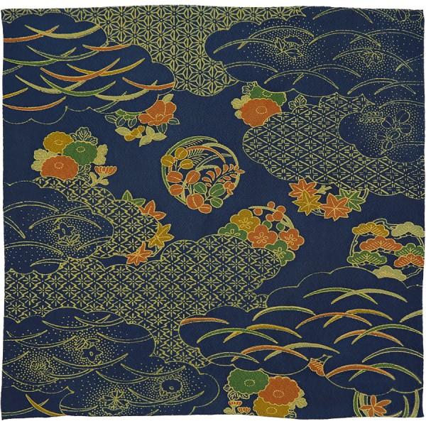 Vintage Kimono Silk Pocket Square - Navy - Handrolled