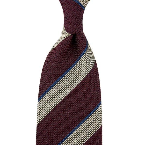 Striped Grenadine / Garza Fina Silk / Wool Tie - Burgundy / Ivory