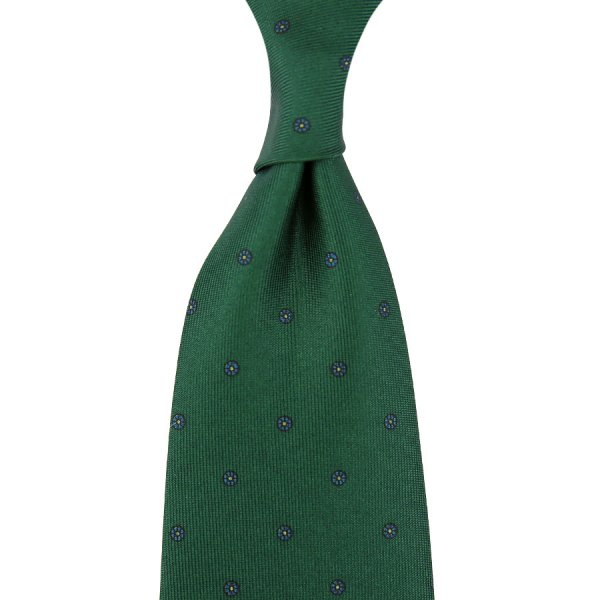 Floral Printed Silk Tie - Forest - Self-Tipped