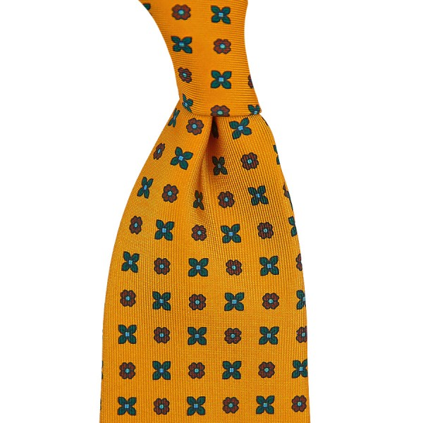 Floral Printed Silk Tie - Honey - Handrolled
