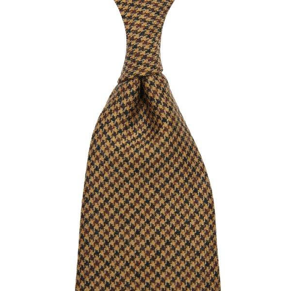 Vintage Fox Brothers Houndstooth Wool Tie - Beige
