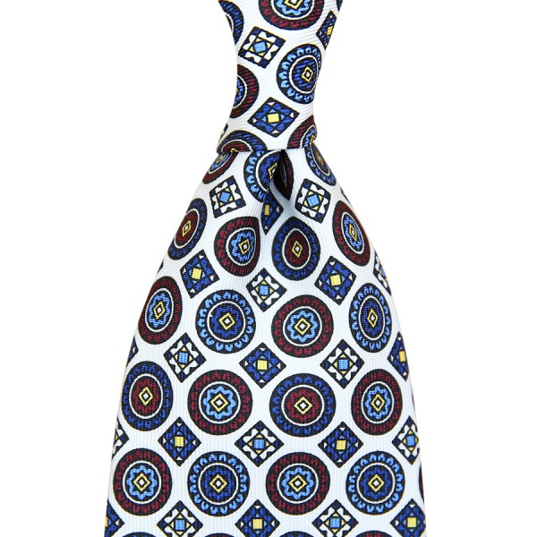 Medallion Printed Silk Tie - White - Handrolled