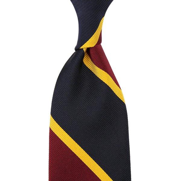 Block Stripe Super Repp Silk Tie - Navy / Burgundy / Gold