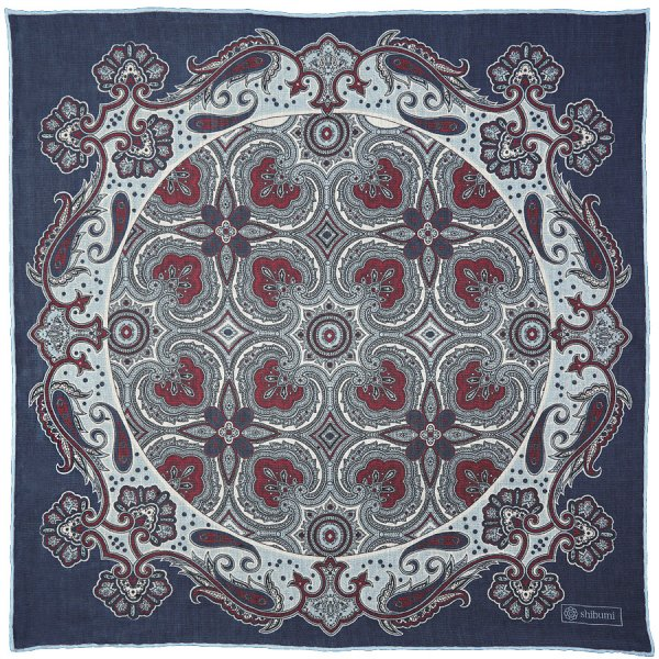 Floral Cotton Blend Pocket Square - Navy - Handrolled - 40 x 40cm