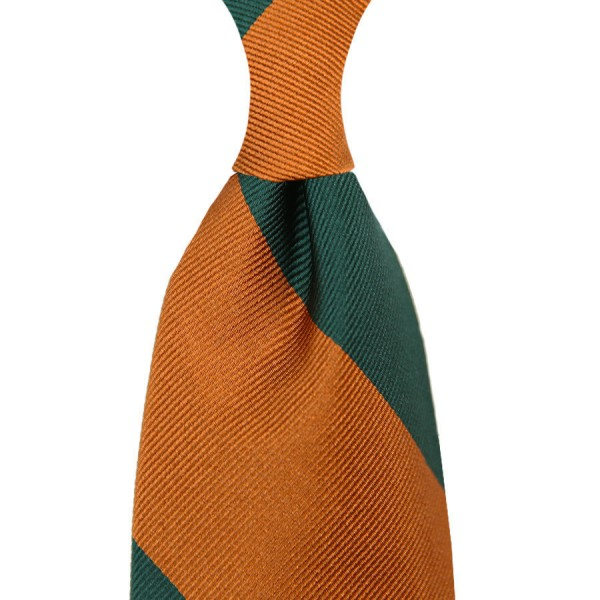 Block Stripe Silk Tie - Forest / Rust - Hand-Rolled