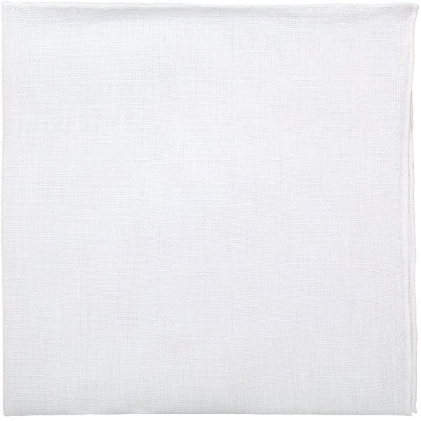 Irish Linen Pocket Square - White - Handrolled