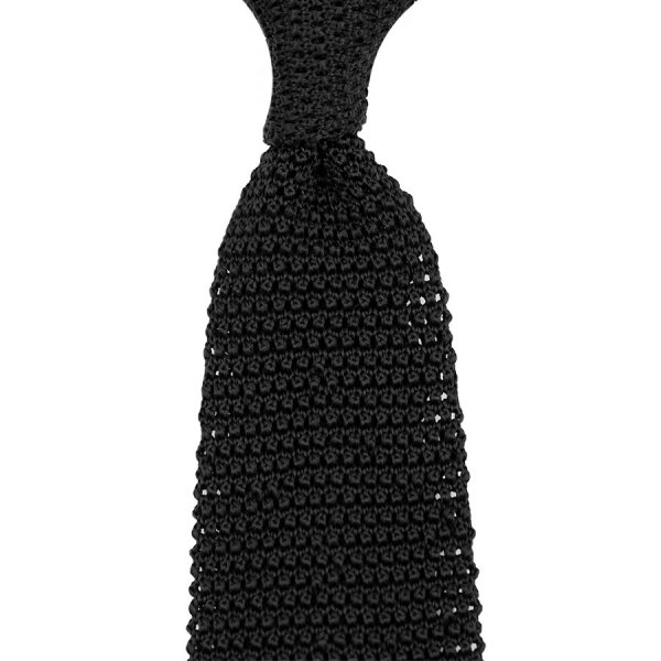 V-Point Knit Tie - Black - Silk