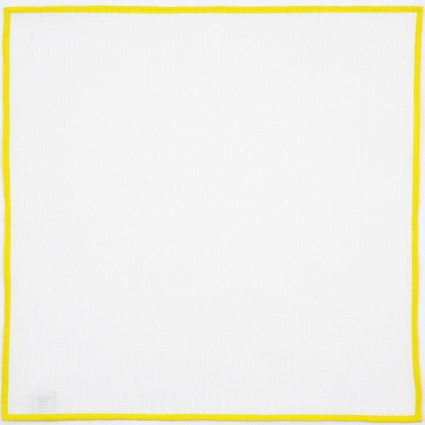 Irish Linen Shoestring Pocket Square - White / Yellow
