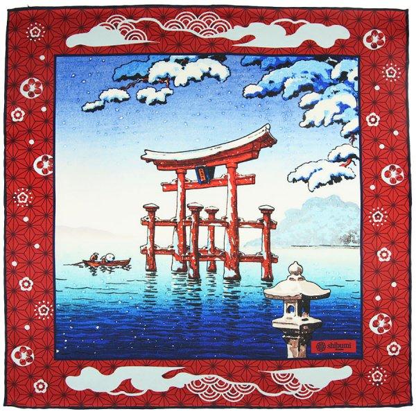Ukiyo-e Silk Pocket Square - Yuki-Geishiki - 40x40cm