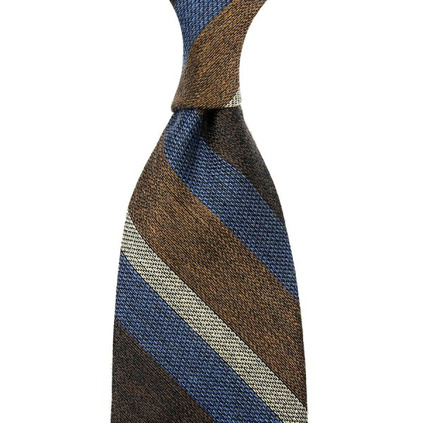 Striped Grenadine / Garza Fina Silk / Wool / Cotton Tie - Beige / Blue