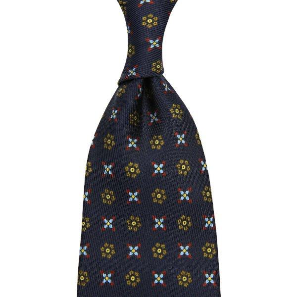 7-Fold 50oz Floral Printed Silk Tie - Navy