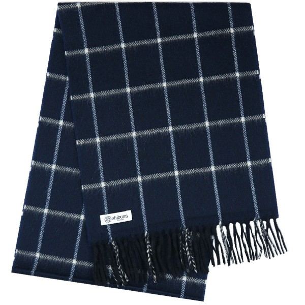 Cashmere Windowpane Scarf - Navy