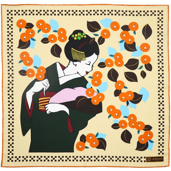 Maiko Motif Silk Pocket Square - Cream - 40x40cm