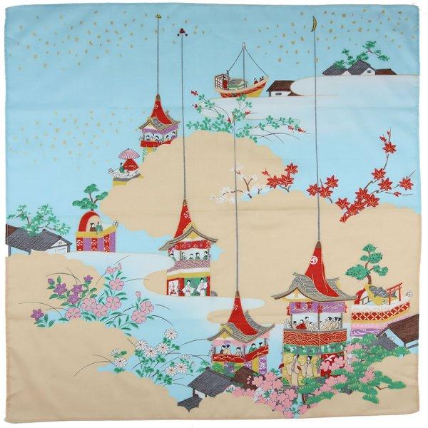 Ukiyo-e Motif Cotton Handkerchief - Blue / Beige