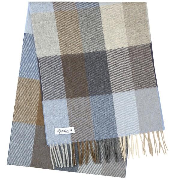Plaid Cashmere Scarf - Beige / Brown / Blue