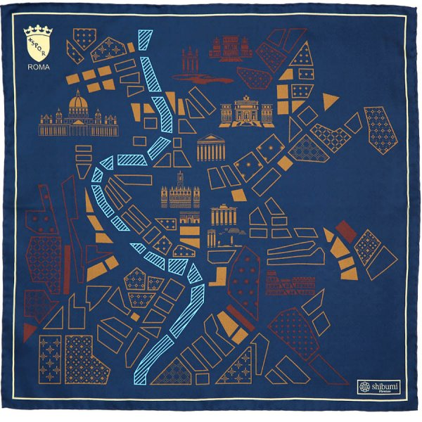 Rome Map Silk Pocket Square - Navy - 40x40cm