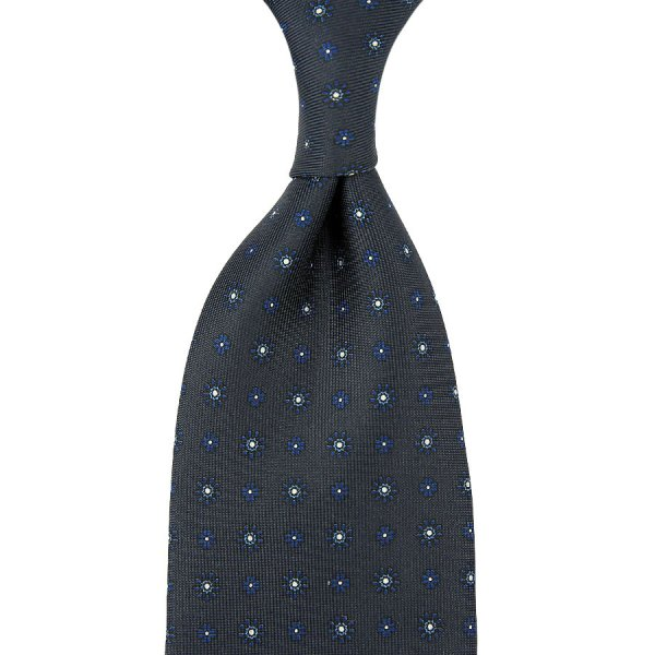 Floral Printed Silk Tie - Charcoal - Hand-Rolled