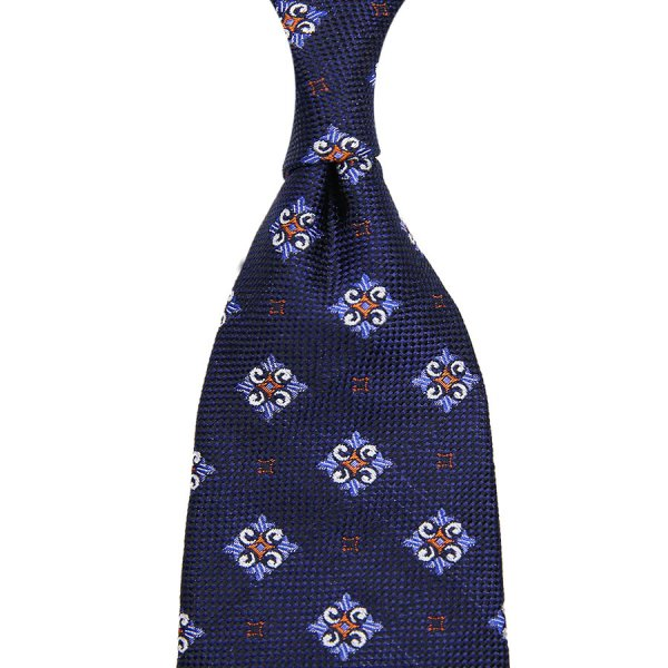 Floral Jacquard Silk Tie - Navy - Hand-Rolled