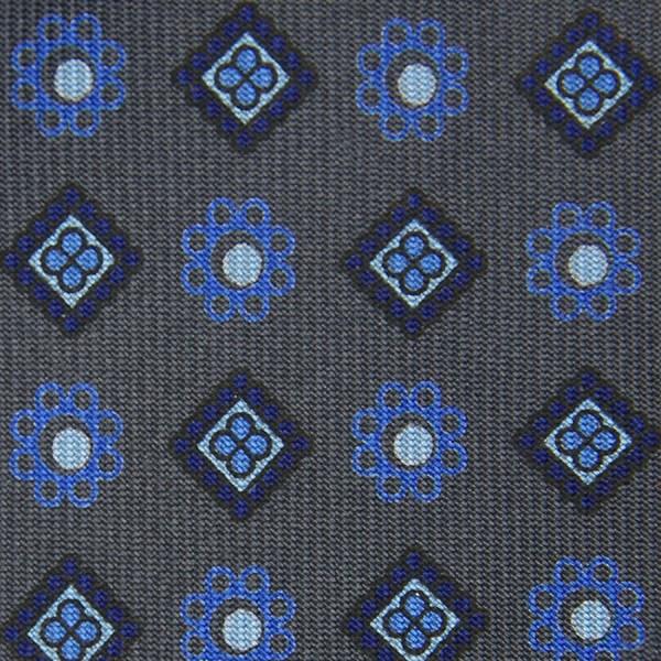Floral Printed Bespoke Silk Tie - Grey II