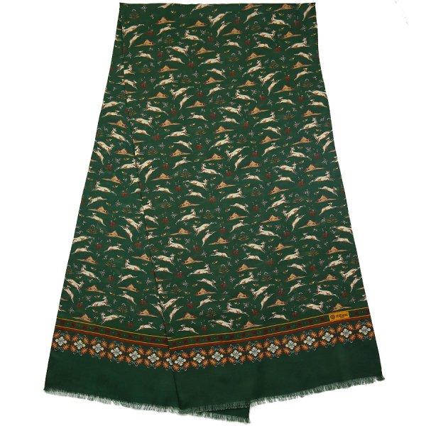 Animal Printed Wool / Silk Scarf - Forest