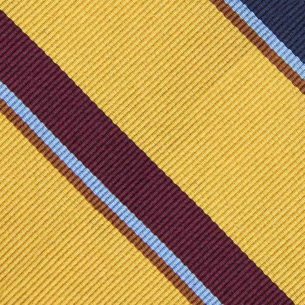 Bespoke Repp Stripe Silk Tie - Gold