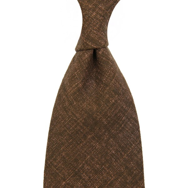 Japanese Mottled Cotton Tie - Chocolate - Handrolled