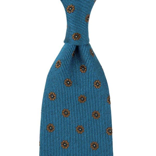 Floral Motif Wool / Silk Tie - Petrol - Hand-Rolled