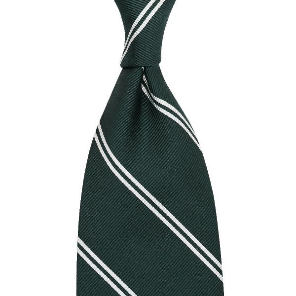 Double Bar Repp Stripe Silk Tie - Bottle Green - Handrolled
