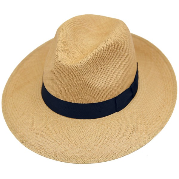 Panama Hat - Caramel - Navy Ribbon