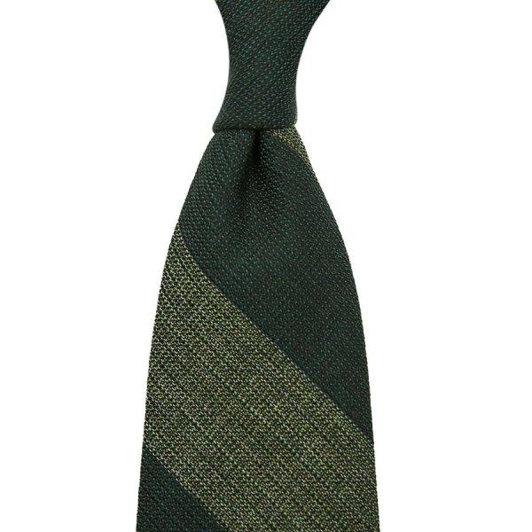 Block Stripe Grenadine Wool / Silk Tie - Forest / Grass