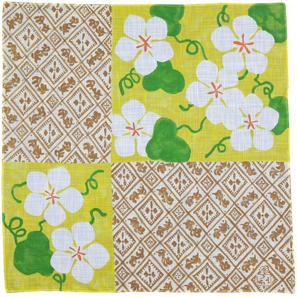 Floral Motif Cotton Handkerchief - Yellow