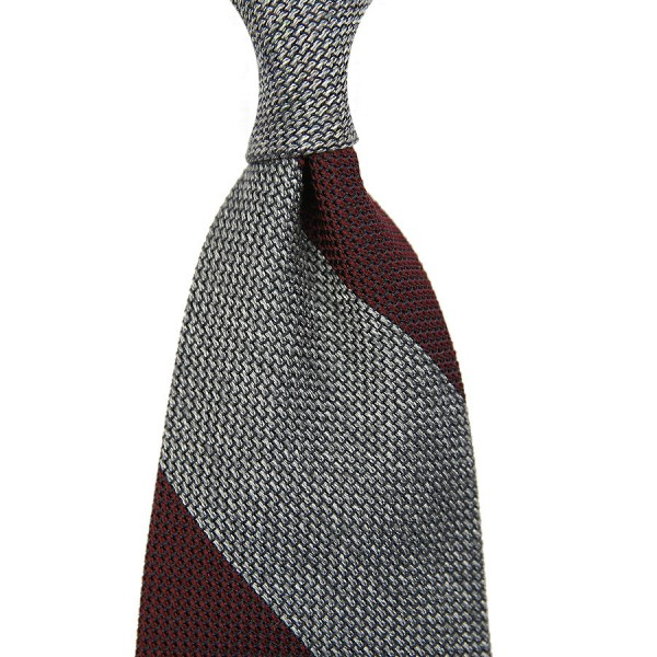 Block Stripe Grenadine / Garza Piccola Silk Tie - Burgundy / Grey Mottled